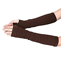 New Akira 34*18cm Long Sleeve Striped Fingerless Gloves Lady Stretchy Soft Knitted gloves (Coffee)