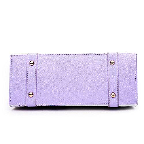 Mefly Spalla portatile borsa sacco Stampa Fashion borsette verde violet
