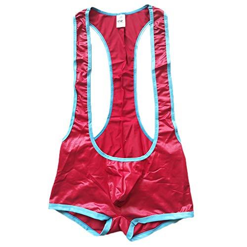F plus R Herren Jockstrap Bodywear Wrestling Singlet Outfits aus Kunstleder - Rot - Small