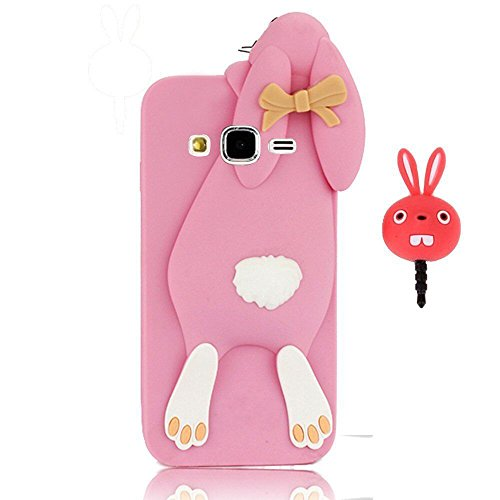 Vandot Fashion Case 3D Lovely Cartoon Buck Teeth Bunny Rabbit Rubber Series Soft Silicone Case Cover para Samsung Galaxy J5(2015) J500 Case, protección silicona resistente Carcasa Funda Tapa Silicona TPU caja del teléfono Cartoon Accessories Set Funny Buck Tooth Phone Case Skin Shell+ Red Rabbit tapón del enchufe