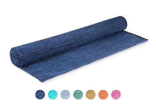Elephant Yoga - Handgewebte Matte aus biologischer Baumwolle - Ideal für Ashtanga Yoga und andere Yogaarten ... (Marineblau)