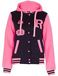 NEW KIDS GIRLS BOYS BASEBALL HOODED JACKET HOODIE R FASHION FOX 61 BLACK ROYAL BLUE RED PINK GREEN GREY CHARCOAL AGE 7 8 9 10 11 12 13 14 YEARS (13/14 Years, Black Pink)