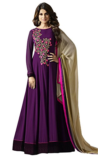AnK Women's Purple Georgette Embroidered Long Semi-Stitched Anarkali Salwar Suit  available at amazon for Rs.1399