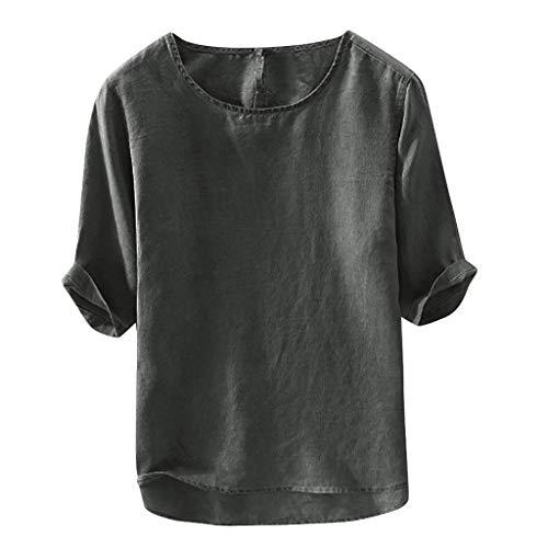 UINGKID Homme à Manche Courte Chemise Coton Lin Yoga de Plage Confortable Respirant Blouse T-Shirt Tops