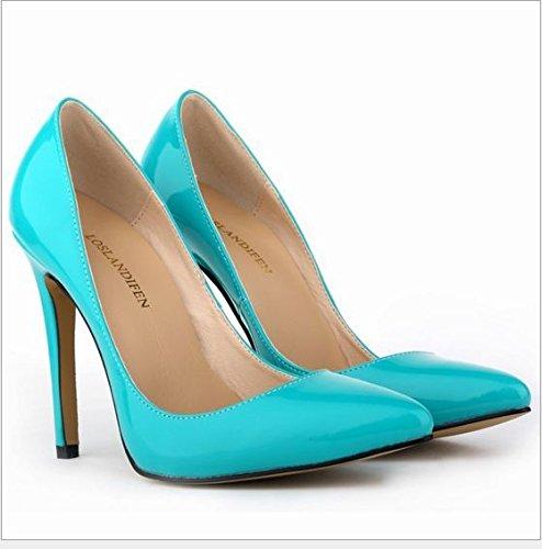 XINJING-S Bowknot High Heels Schuhe Party Hochzeit Frauen Pumps Heels OL Kleidung Schuhe Sandalen Blaugrün