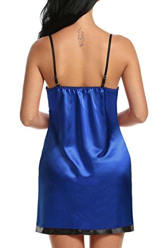 Avidlove Damen Lingerie Negligee Sexy Nachtwäsche mit G String Babydoll Kleid Gurt Transparent Lace Patchwork Blau