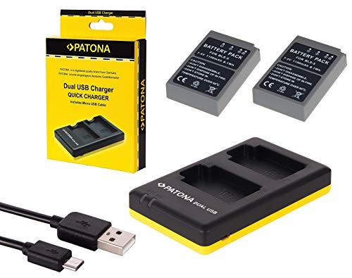 3in1-SET für die Olympus OM-D E-M10 Mark II --- 2 PREMIUM Akkus für Olympus BLS-5 / BLS-50 (starke 1100mAh) + Dual Ladegerät (laden Sie 2 Akkus via USB-Anschluss auf einmal) Dual 50