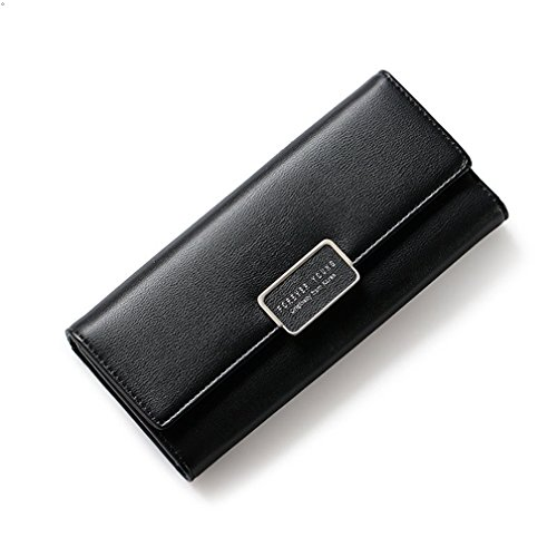 GEEAUASSD Women Lady Leather Wallet Purse Credit Card Clutch Holder Case (Black) (Wallet Bi-fold Haut)
