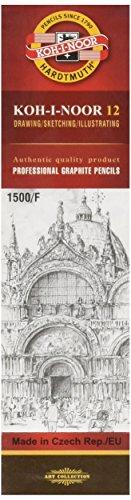 KOH-I-NOOR 1500 Graphitstifte Set, Härtegrad F (12 Stück)