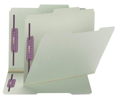 Datei-erweiterung Ordner (SMEAD Pressspan Verschluss Datei Ordner mit Safeshield® gurthalteband, 2Schrauben, 2/5-cut Tab rechts of center Position, GUIDE Höhe, 2,5cm Expansion, Letter-Format, grau/grün, 25pro Karton (14980))
