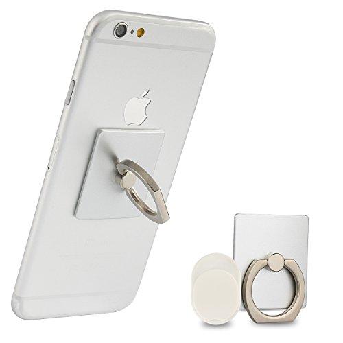 Incutex Finger-Halterung - Handy-Griff Ring - Handy Ständer Haken Smartphone Grip für die Hand in Silber - Große Metall-griff-stütze