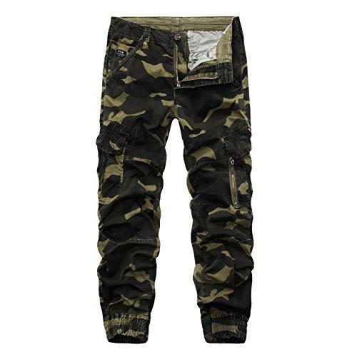 AYG Herren Camouflage Hose Cargo Hosen Combat Trousers(dark green camo,36) (100cm Snowboard-paket)