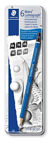 Staedtler 100 G6 Zeichenbleistift Mars Lumograph (Sechskantform, unglaublich bruchfeste Premium-Bleistifte, hohe Qualität Made in Germany, 6 Härtegrade, Metalletui)
