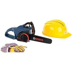 Bosch - Sierra de cadena con casco y guantes protectoras, color azul (Theo Klein 8253)