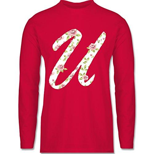 Shirtracer Anfangsbuchstaben - U Rosen - Herren Langarmshirt Rot