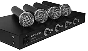 Vocal-Star 4 VHF Wireless Microphone Set For Karaoke DJ PA Band Vocals Singing