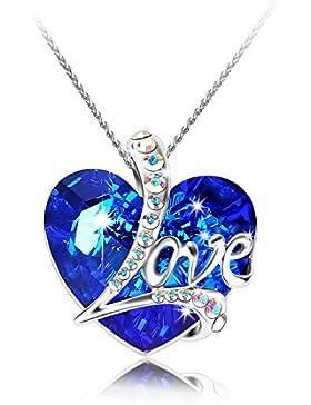 Pealrich Love Heart Damen Kette, Kristall von Swarovski Halskette mit Liebe Herz Anhänger mit Etui für Mutter...