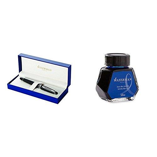 Waterman Expert 3 Penna Stilografica Matte Black, Finiture Cromate, Pennino Medio + Flacone Inchiostro Blue Lavabile