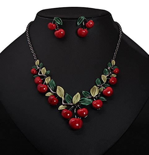 Xiang Red Cherry Necklace Earrin...