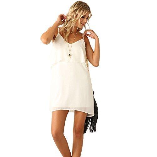 Eliacher Damen Casual Weiß mit Rüschen Beleg Kleid 6178 (Ages Of Rock Kostüme Film)