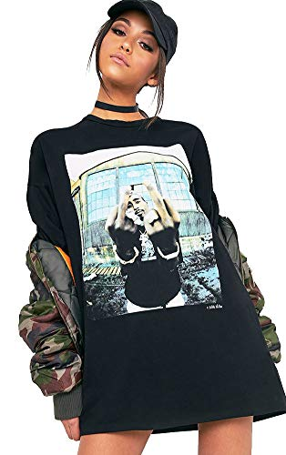 Damen 100% Baumwolle Tupac Schwarz bedrucktes Kurzarm T-Shirt Kleid UK 10 (DE 36)