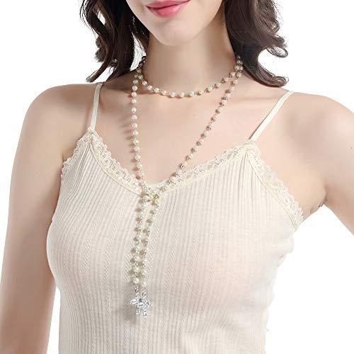 ArtiDeco Damen Halskette Lang mit Silber Kreuz Imitation Perle Lange Halskette Verstellbare Choker Ketten Damen Modeschmuck Accessoires Lariat Halsketten für Frauen ()