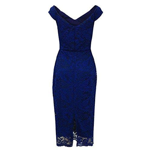 Laeticia Dreams–Vestito da donna in pizzo, senza maniche, lunghezza al ginocchio, taglie S M L XL Marineblau