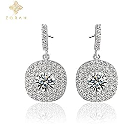 Zorah Silver Plated Drop Earrings for Women Studded with AAA Cubic Zirconia Diamonds- Silver