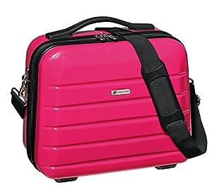 Kosmetikkoffer 30x33x16cm Pink mit Umhängegurt und Trolley befestigung Beautycase Bowatex