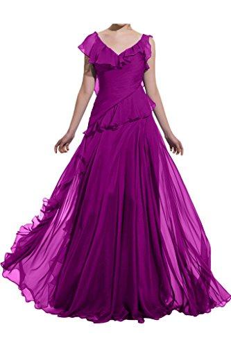 ivyd ressing Femme Style plein V de la découpe A ligne mousseline Robe de soirée Party robe Prom Lave-vaisselle robe robe du soir Fuchsia