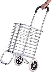 Techsun Travel Shopping Cart Jumbo Aluminum Folding Wheel Grocery Laundry Cart