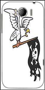 Snoogg Eagle Holding Pirate Flag Vector Cartoon Illustration Designer Protective Back Case Cover For HTC Sensation Xl