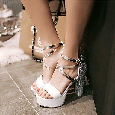 LvYuan Da donna-Sandali-Casual Serata e festa-Altro-Quadrato-Lustrini PU (Poliuretano)-Rosa Bianco Argento Arcobaleno Silver