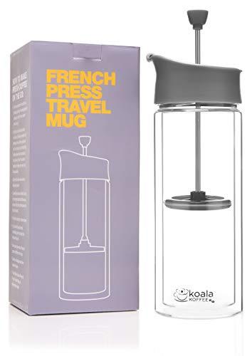 Koala Koffee Travel Press Cafetiere Kaffeebereiter für Unterwegs Vakuumisoliert 0,45 l/16 oz Kaffeebecher to go