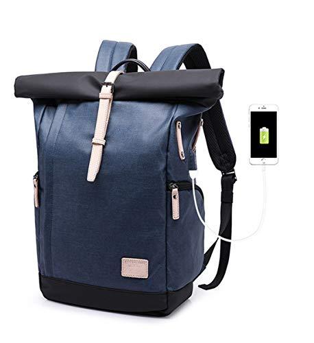 KAKA Wasserdichter Laptop-Rucksack, 15,6-Zoll-Männer-Frauen-Computer-Rucksack mit USB-Anschluss Roll-Top-BackpackAnti-Diebstahl-Rucksäcke für Reisen/Business/College (Blau)