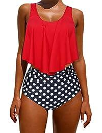 05e6c115ae RXRXCOCO Women Ruched High Waisted Floral Ruffled 2 Piece Bikini Set  Swimwear
