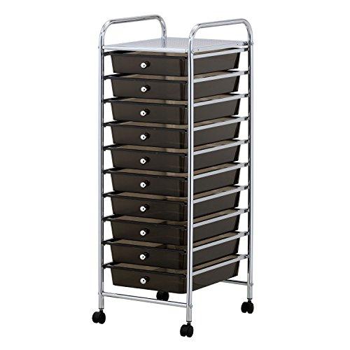 Preisvergleich Produktbild Taylor & Braun® Portable Schublade Mobile Rollwagen für Home Office Supplies oder Make-up & Beauty Zubehör, schwarz, 10 Drawer
