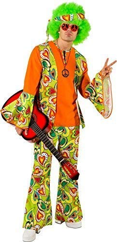Fancy Me Herren Grün Hippie 1960s Jahre 60s Jahre 1970s 70s Jahre Junggesellenabschied Abend Party Groovy Kostüm Kleid Outfit - Grün, Medium (EU 48/50)