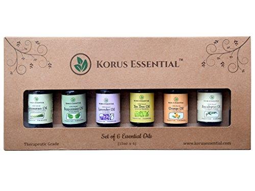 Korus Essential Top 6 Essential Oils For Aromatherapy Set Of 6 15Ml Essential Oils- 100% Pure & Therapeutic Grade - Gift Set & Premium Kit - 6/15 Ml Lavender
