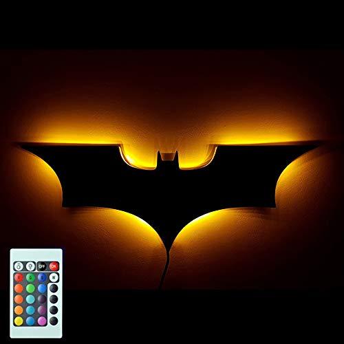 HHCC LED-Wandleuchte mit Fernbedienung Batman buntes Projektionsnachtlicht für Schlafzimmer KTV Corridor Background Wanddekorationsbeleuchtung,USB -