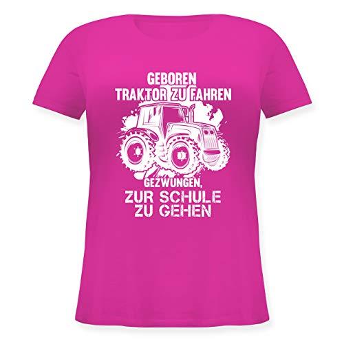 Andere Fahrzeuge - Geboren um Traktor zu Fahren - S (44) - Fuchsia - JHK601 - Lockeres Damen-Shirt in großen Größen mit Rundhalsausschnitt (Damen Shirt Traktor)
