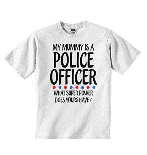 La mia mamma è un agente di polizia quali super power tuoi sono?–t-shirt per bambini con scritta personalizzata tee abbigliamento unisex t-shirt–bianco–4–5anni