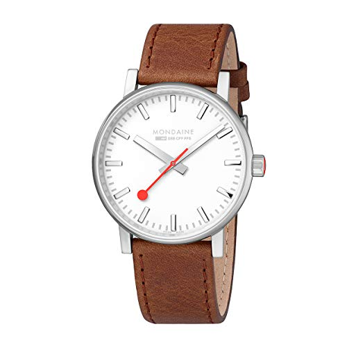 Mondaine evo2 Big Brown Leather Strap Men's Watch