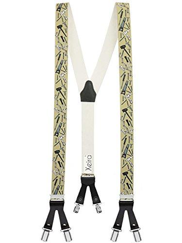 Hochwertige Hosenträger in Trendigen Edelweiß/Handwerker/Bier/Army Design mit Lederriemen und 6 Clips - Made in Germany (Handwerker Beige)