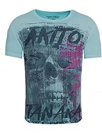 7800b32646af18 Akito Tanaka Herren T-Shirt Fight for Skull Totenkopf Asiatisch Vintage  Print