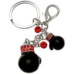 Acosta-Cristal Rouge Noir Gants de boxe-Bijou de Sac/porte-clés-Boîte Cadeau