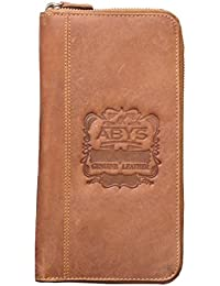 ABYS Tan Real Hunter Leather Wallet//Hand Bag//Mobile Cover With Metallic Zip Closure For Men & Women