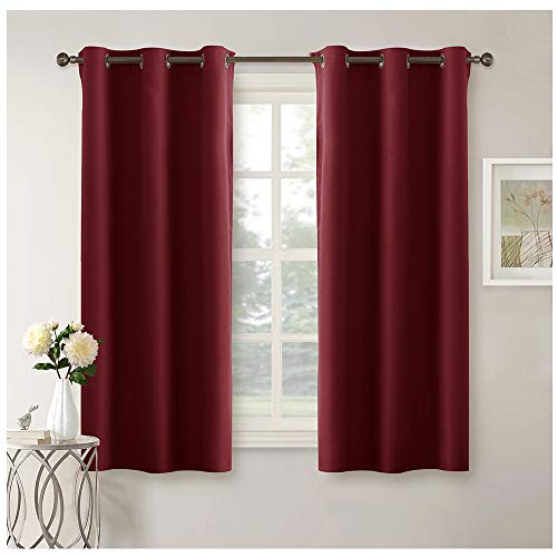 Pony dance tende rosse finestre soggiorno tendaggi oscuranti con occhielli da interno camera da letto cucina tessuti 100% poliestere (106 x 158 cm, 1 paio)