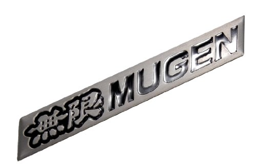 Preisvergleich Produktbild Mugen Embossed Black on Silver Real Aluminum Auto Emblem Badge Nameplate for Honda Acura Civic Fit Prelude Integra RSX Accord Si RSX GSR TSX CL TL GSR LS EK9 EK EG Type-R S JDM other models