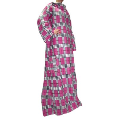 linens-limited-adult-fleece-check-snuggle-wrap-blanket-pink
